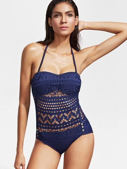 Navy Hollow Out Halter One-Piece Swimwear