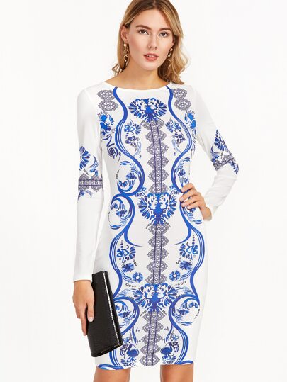 Blue And White Vintage Print Long Sleeve Sheath Dress