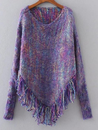 Pull frange ourlet poncho -violet