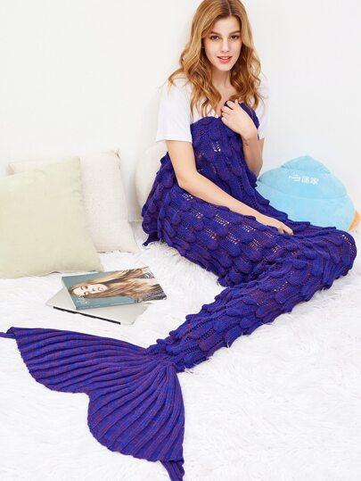 Fisch Skala Design stricken Mermaid-Decke-purpur