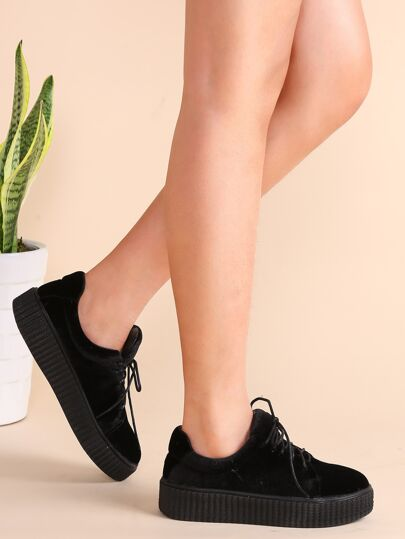 Black Lace Up Velvet Platform Shoes