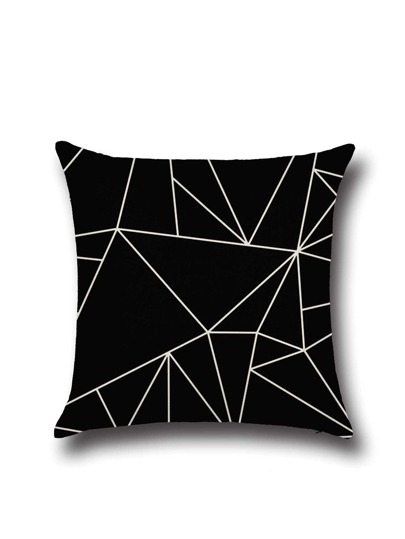 Geo Pattern Black Linen Cushion Cover