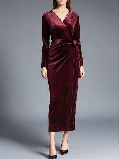 Burgund mit V-Ausschnitt Tie-Taille Samt-Kleid