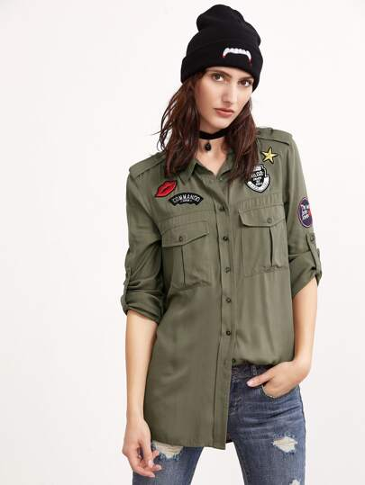 Olive Green Epaulet Shoulder Equipment Blouse With Patch