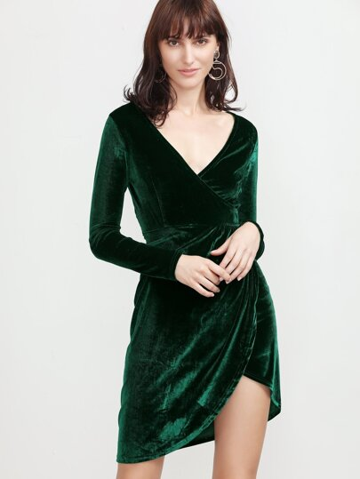 Dark Green V Neck Wrap Velvet Dress