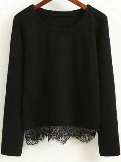 Black Eyelash Lace Hem Casual Top