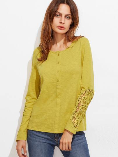 Mustard Button Front Embroidered Lace Sleeve Slub T-shirt