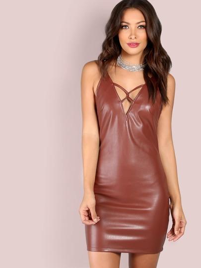 Faux Leather Deep V Twist Mini Dress RED BROWN
