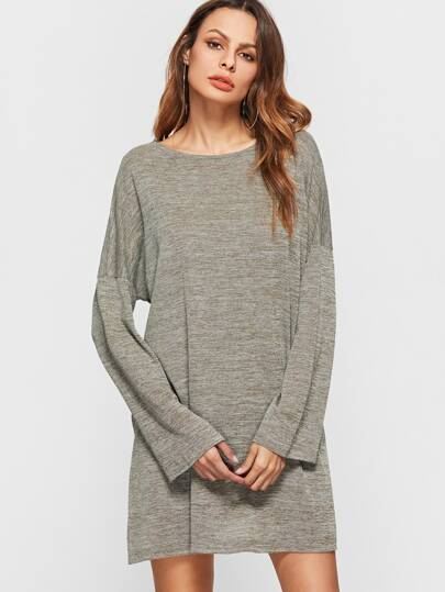 Marled Knit Drop Shoulder Seam Split Side Dress