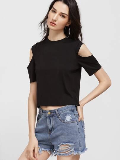 T-Shirt Ritagliato Spalle Aperte - Nero