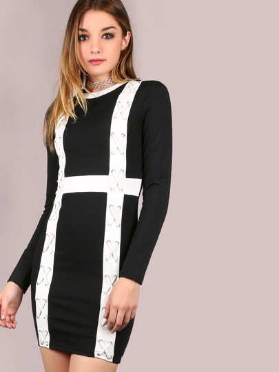 Sleeve Crossed Bodycon Dress BLACK WHITE