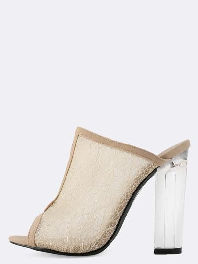 Peep Toe Lace Perspex Chunky Heels NUDE