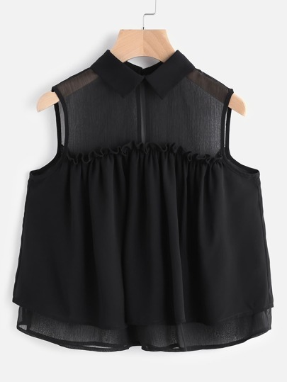Black Mesh Shoulder Sleeveless Frill Trim Layered Top
