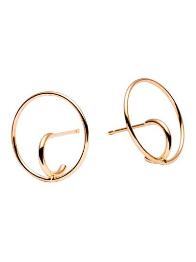 Gold Trumpet Design Geo Circle Earrings