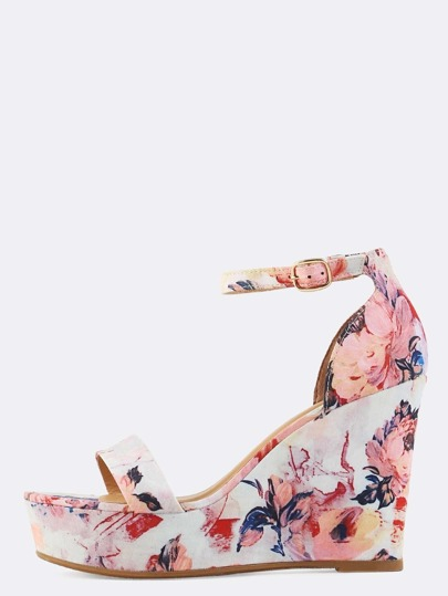 Floral Open Toe Wedges BLUSH MULTI