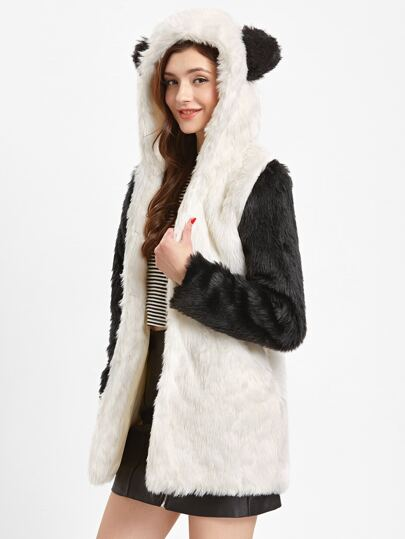 Panda Faux Fur Coat With Pockets