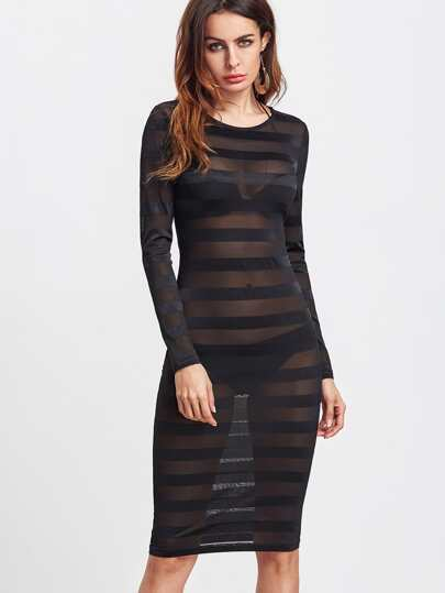 Black Long Sleeve Striped Mesh Dress