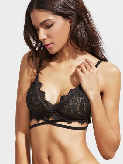 Cross Strap Eyelash Lace Triangle Bralette