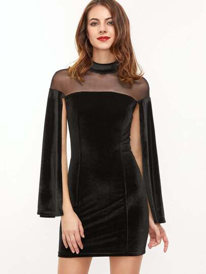 Black Sheer Mesh Shoulder Split Sleeve Velvet Bodycon Dress