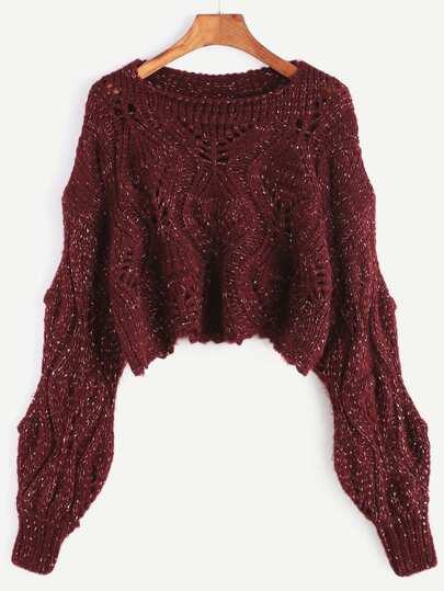 Slub Kurze Pullover mit Holen Design-burgund rot