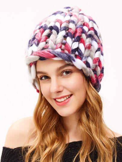 Bonnet tricot de câble duveteux -multicolore