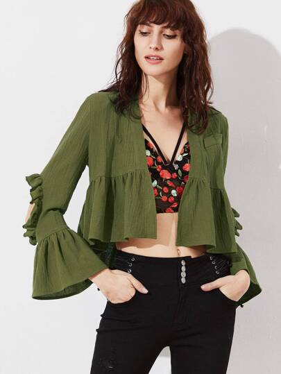 Olive Green Open Elbow Bell Sleeve Open Front Babydoll Blouse