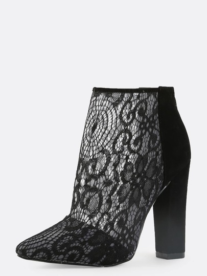 Chunky Heel Lace Booties BLACK