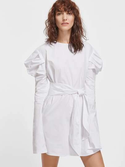 White Keyhole Back Self Belt Puff Sleeve Dress