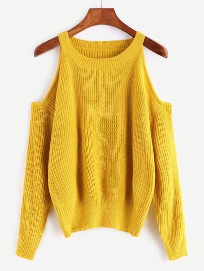 Жёлтый вязаный джемпер с открытыми плечами