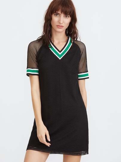 Black Striped Trim Eyelet Mesh Overlay Dress