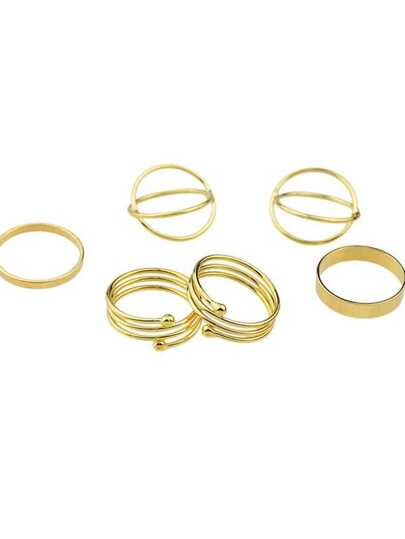 New Design Gold Color Band Rings(6Pcs One Set)