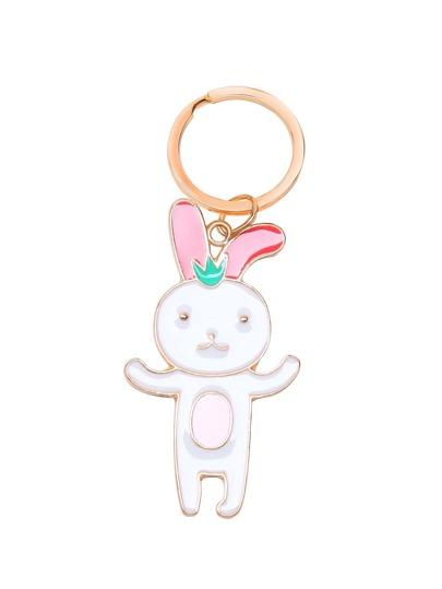 Gold Tone Rabbit Pendant Keychain