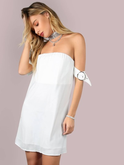 Strapless Belted Bardot Flow Dress OFF WHITE