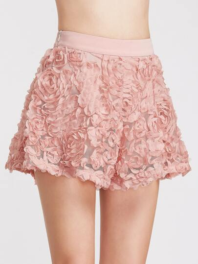 Pink Flower Applique Wide Leg Shorts