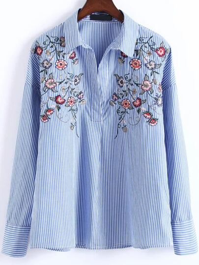 Blue Vertical Striped Floral Embroidery Blouse