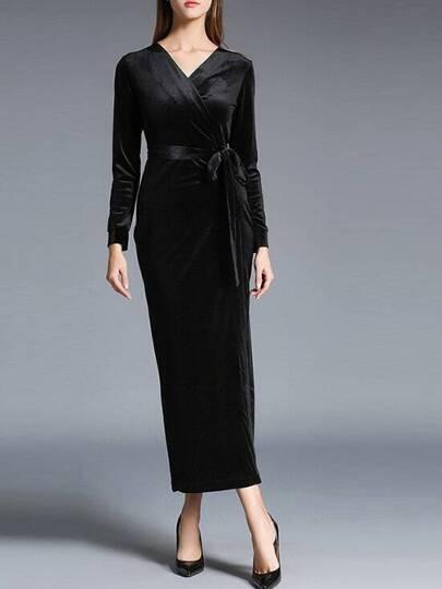 Schwarz mit V-Ausschnitt Tie-Taille Samt-Kleid