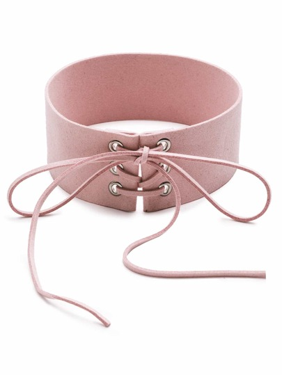Pink Lace Up Tie Front Suede Wide Choker