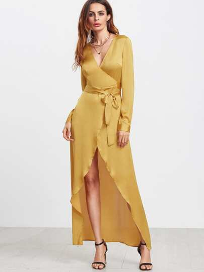 Yellow Long Sleeve Surplice Wrap High Low Dress