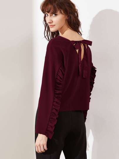 Burgundy Tied V Back Drop Shoulder Frill Trim Sweatshirt