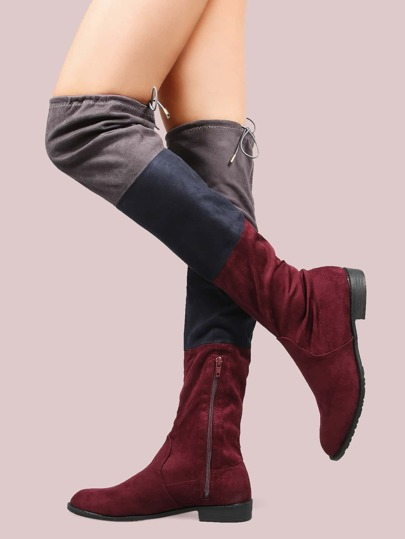 Drawstring Triple Stripe Suede Boots BORDEAUX