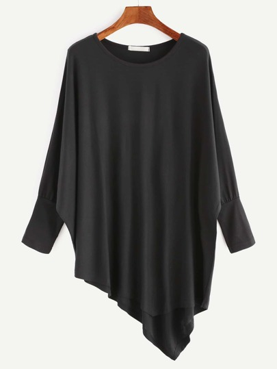 Black Batwing Sleeve Asymmetric Hem T-shirt