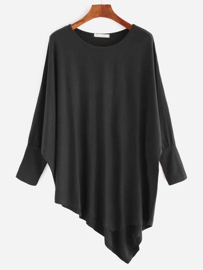 Camiseta asimétrica de manga murciélago - negro