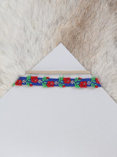Double Layered Embroidered Roses Choker BLUE