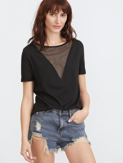 Black Eyelet Mesh V Neck T-shirt