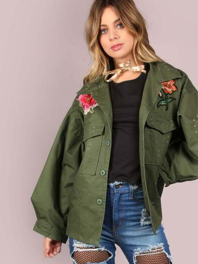 Oversized Military Floral Patch Jacket OLIVE