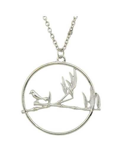 Silver Color Big Round Bird Long Necklaces