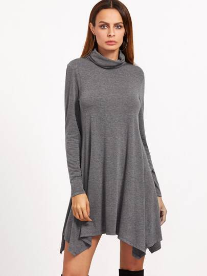 Heather Grey Cowl Neck Long Sleeve Asymmetric Swing Dress