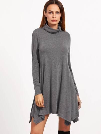 Asymmetrische Swing Kleid langarm Umlegekragen-hell grau