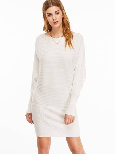 White Ribbed Boat Neck Batwing Sleeve Bodycon Dress