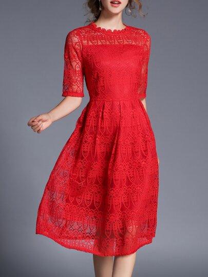 Red Sheer Verbandsmull gestickte A-Line Kleid